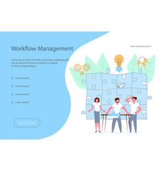workflow management banner design template vector image