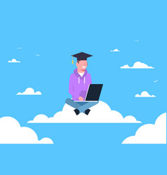 young man student graduate sitting on cloud with vector image