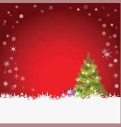 christmas tree and christmas balls with fir and vector image