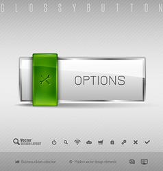 design elements Green and gray glossy button with vector image vector image