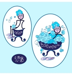 funny wc restroom symbols vector image
