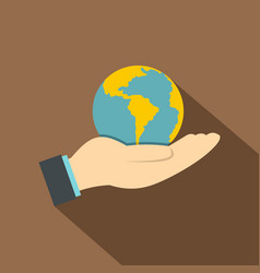 hand holding globe icon flat style vector image vector image