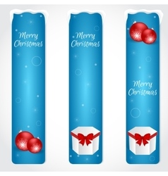 Three blue Christmas vertical banner with red vector image
