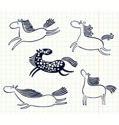 doodle horses vector image vector image