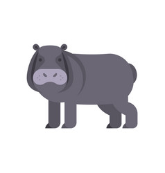 flat style of hippo vector image vector image