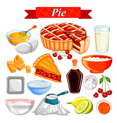 food and spice ingredient for pie vector image