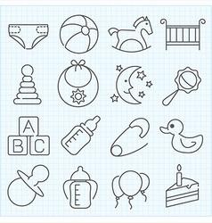 Baby theme icons set vector image