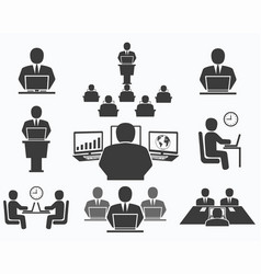 business people office icons conference vector image vector image