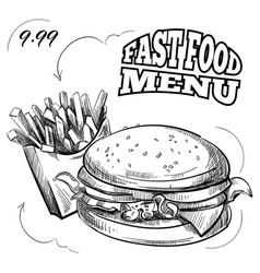 fast food menu with hand drawn hamburger and vector image vector image