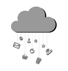 grayscale silhouette with cloud service storage vector image vector image