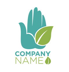 hand and leaf ecology company template icon vector image