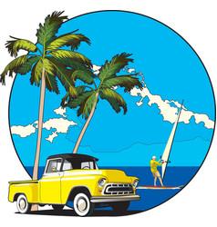 Hawaiian vignette vector image