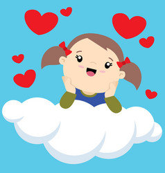 little girl with two ponytails on a cloud thinking vector image vector image