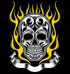 ornate flame skull tattoo vector image