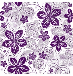 Seamless floral white pattern vector image