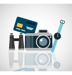 travel holidays flat line icons vector image