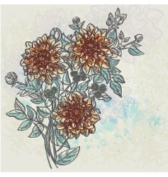 Vintage background with flowers dahlia color vector image