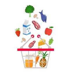 Food and drink products falling down into basket vector image vector image
