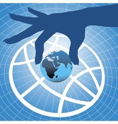 hand holding planet vector image vector image
