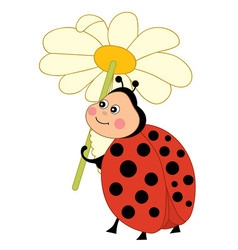 Ladybug With Flowers vector image