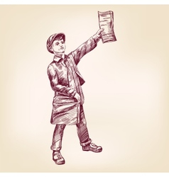 Paperboy selling news papers hand drawn vector image