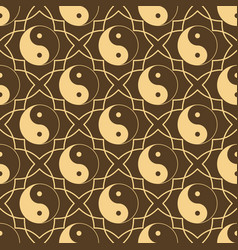 seamless pattern with sign yin yang sample design vector image vector image