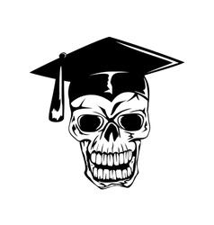 skull in graduation cap vector image