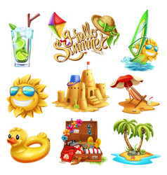 summer set 3d icon vector image