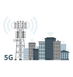 5g mast base station in innovative smart city vector