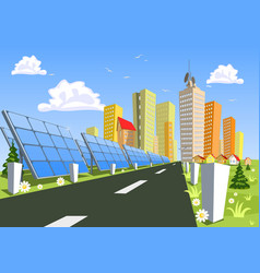 abstract city and solar power technology vector image