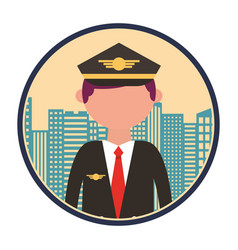 airplane pilot with cityscape vector image