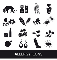 Allergy and allergens black icons set eps10 vector