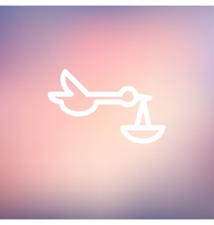 Baby basket and stork thin line icon vector image