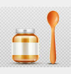 Baby food jar with spoon glass puree closed bottle vector