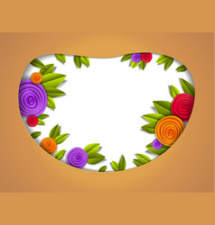 background with flowers and leaves paper cut vector image