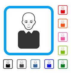 Bald bureaucrat framed enjoy icon vector