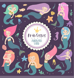 beautiful and cute mermaids vector image