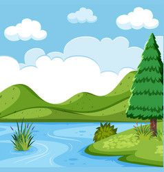Beautiful lake landscape scene vector
