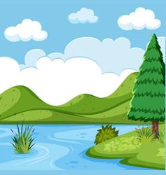 Beautiful lake landscape scene vector