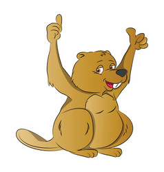 Beaver with two thumbs up vector