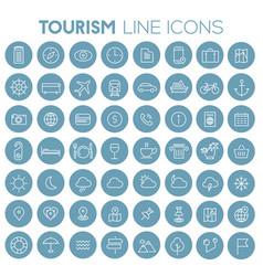 big travel tourism linear trendy icon set vector image