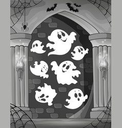 Black and white alcove and ghosts 1 vector