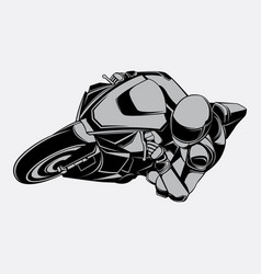 Black and white racing motorbike vector