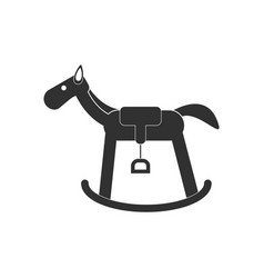 Black icon on white background kids rocking horse vector