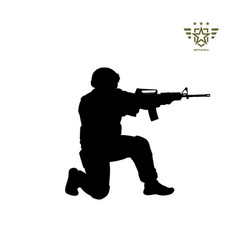 Black silhouette sitting american soldier vector