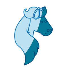 Blue silhouette of face side view of horse with vector
