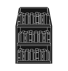 bookcase icon in black style isolated on white vector image