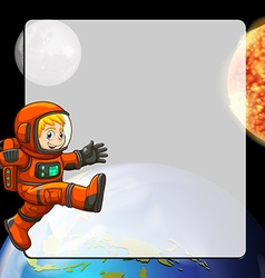 Border design with astronaut in space vector