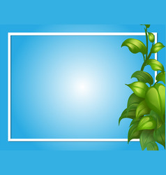 Border template with green leaves on side vector