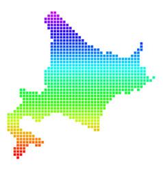Bright dot hokkaido island map vector